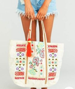 America & Beyond embroidered beach tote